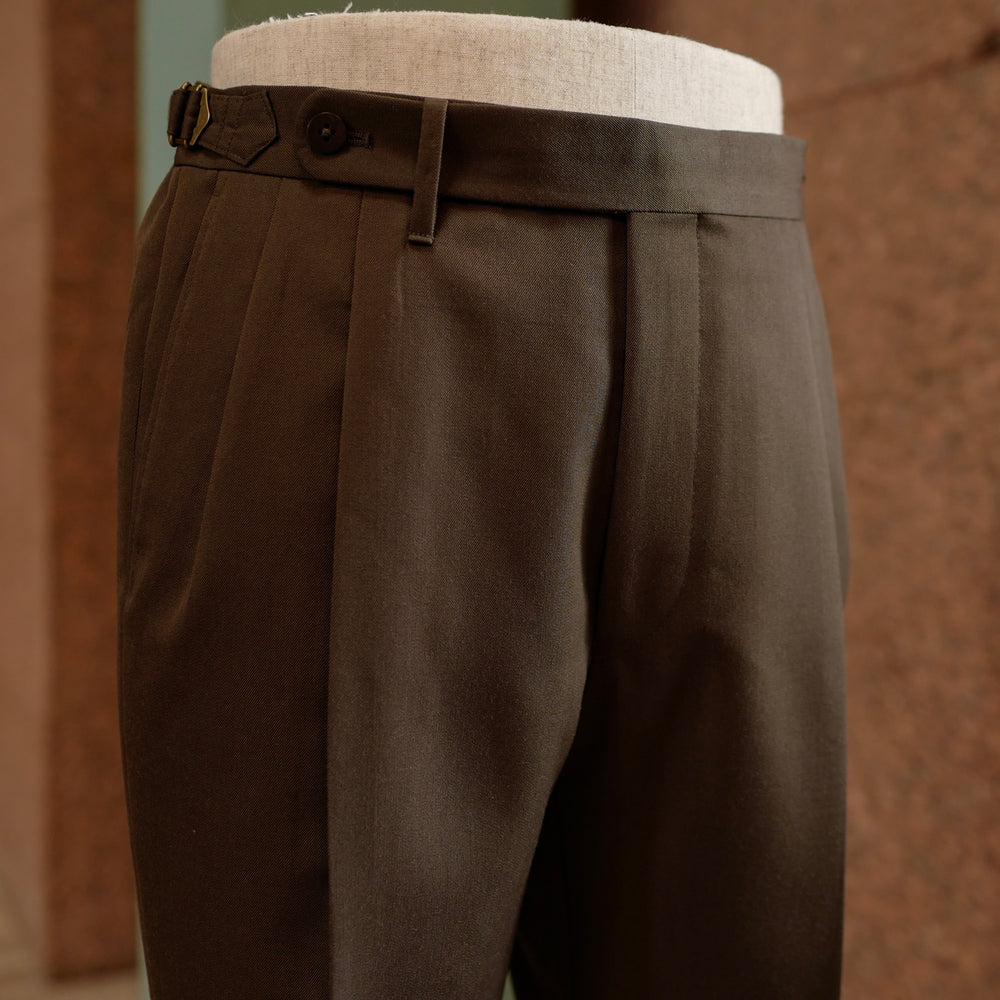 Brown Vintage Gabardine Wool Trousers