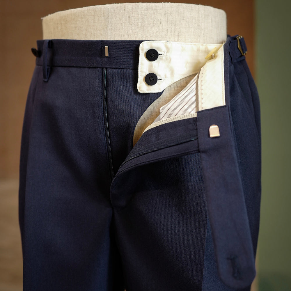 Navy Vintage Gabardine Wool Trousers