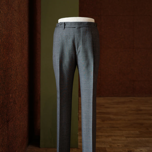 Mid Grey Sharkskin Wool Trousers