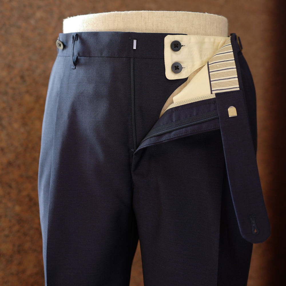 Navy Wool/Mohair Trousers