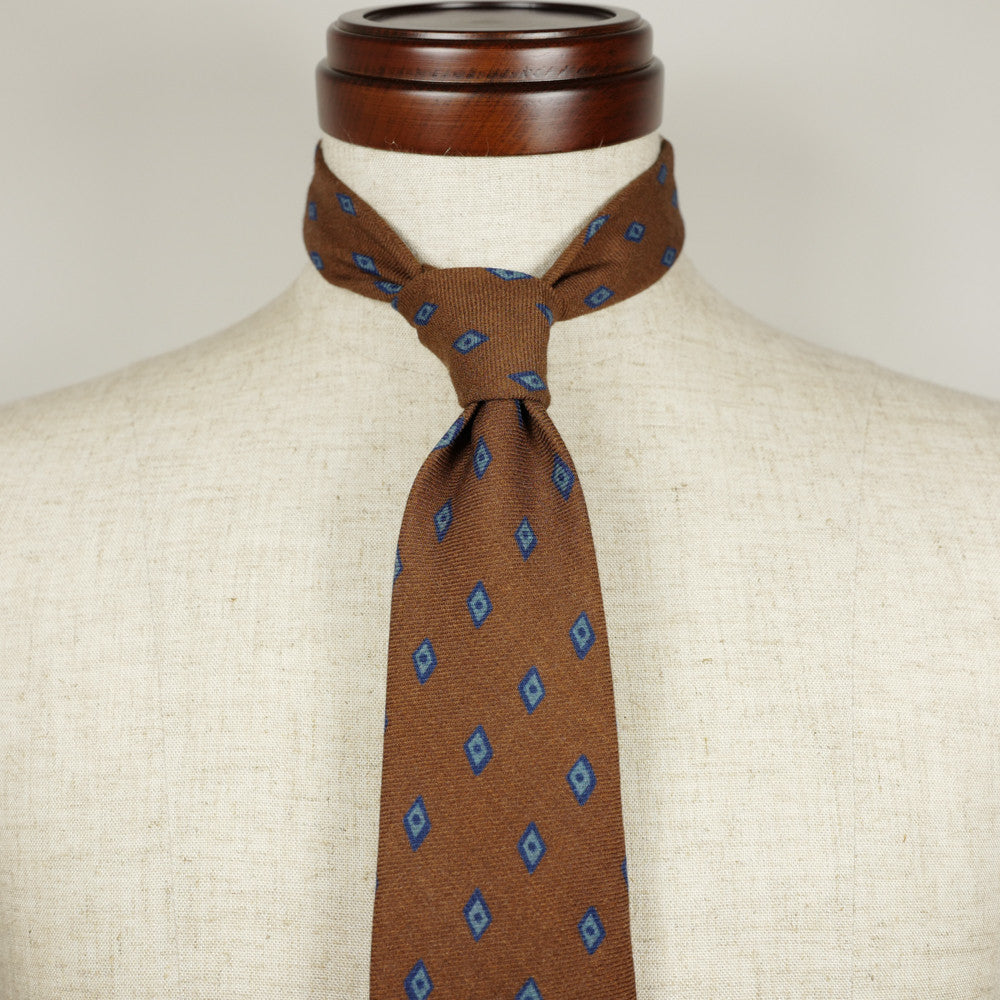 Burnt Orange Wool Six-Fold Tie with Diamond Print