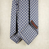 Light Cream Wool Six-Fold Tie with Floral Print