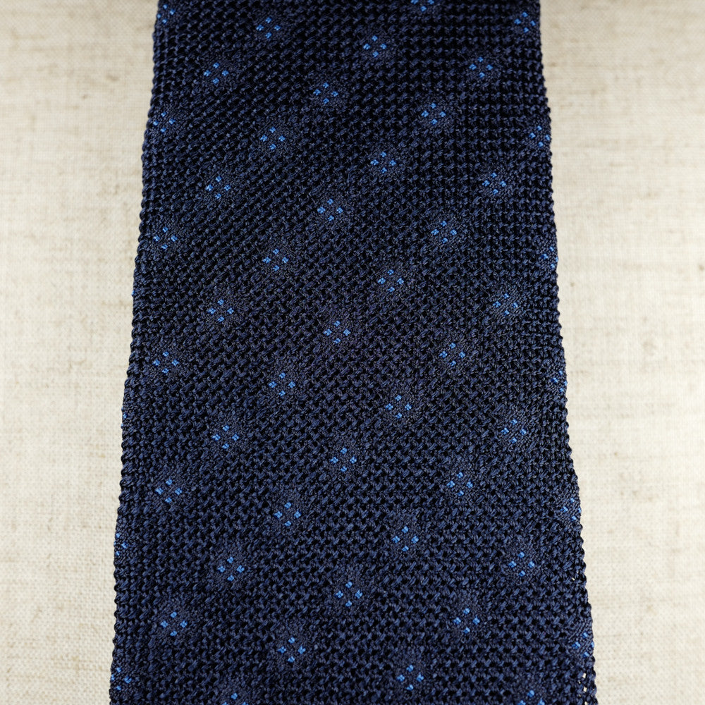 Navy Grenadine Six-Fold Tie with Blue Dots