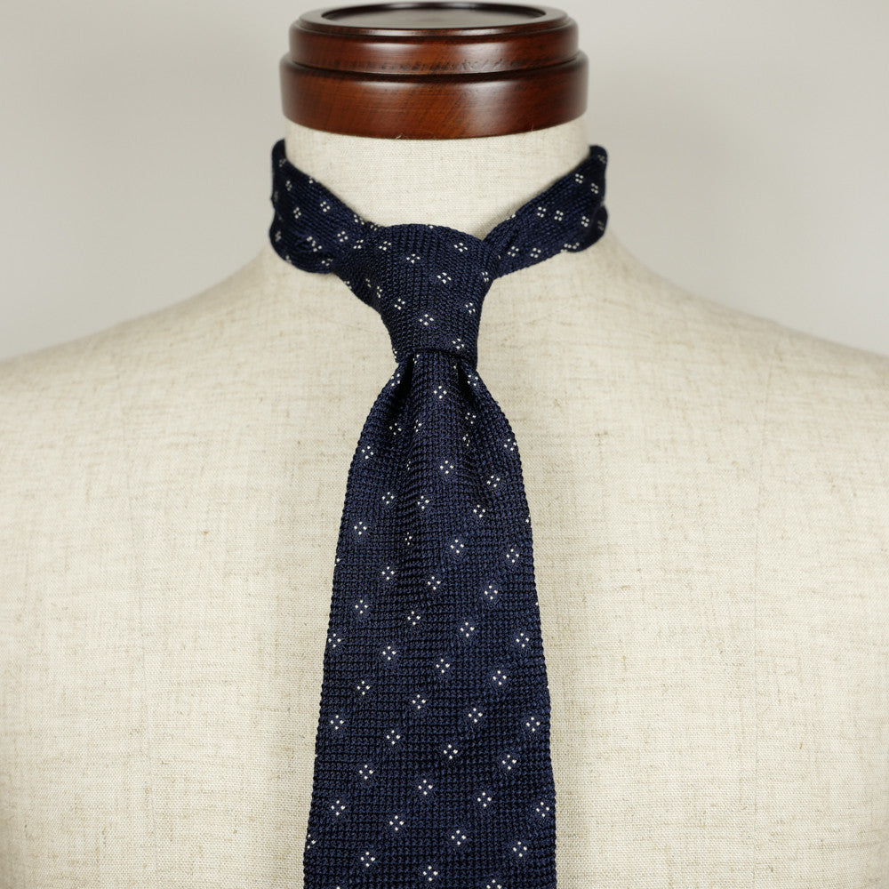 Navy Grenadine Six-Fold Tie with White Dots
