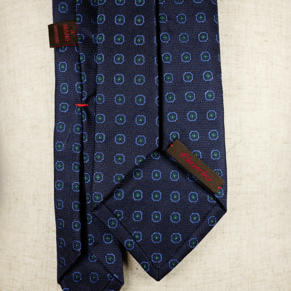 Navy Jacquard Six-Fold Tie with Woven Medallion