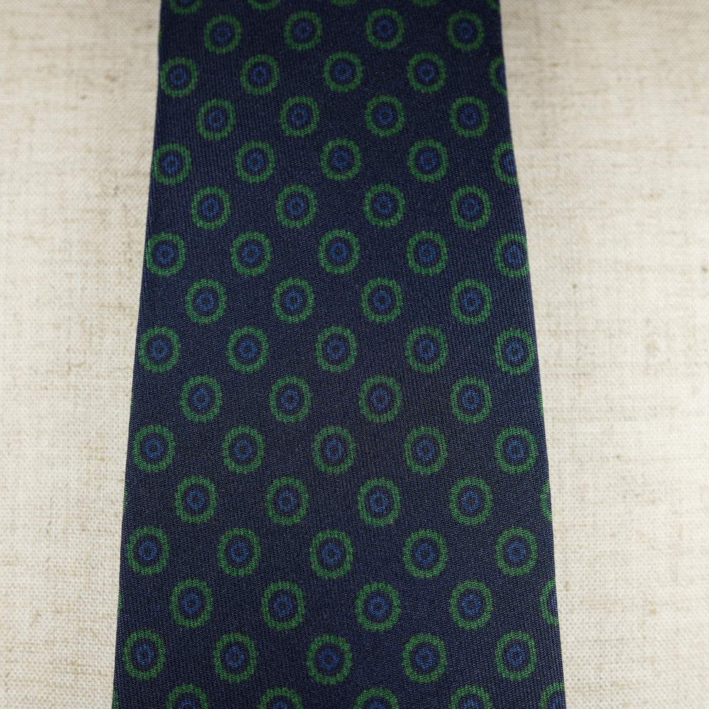 Navy Silk Six-Fold Tie with Circle Print