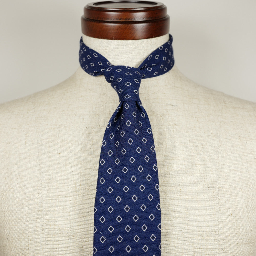 Navy Wool Six-Fold Tie with Diamond Print