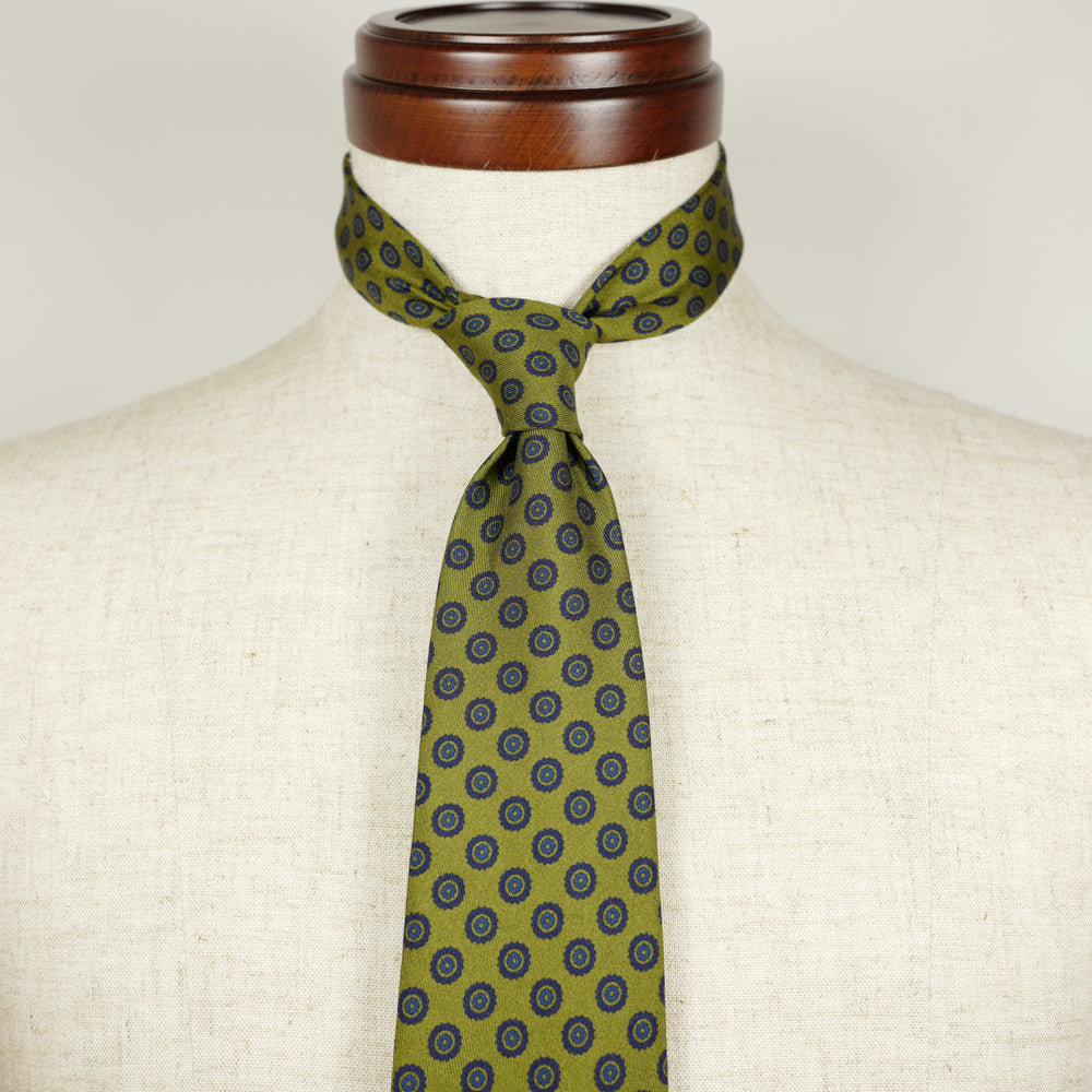 Olive Silk Six-Fold Tie with Circle Print