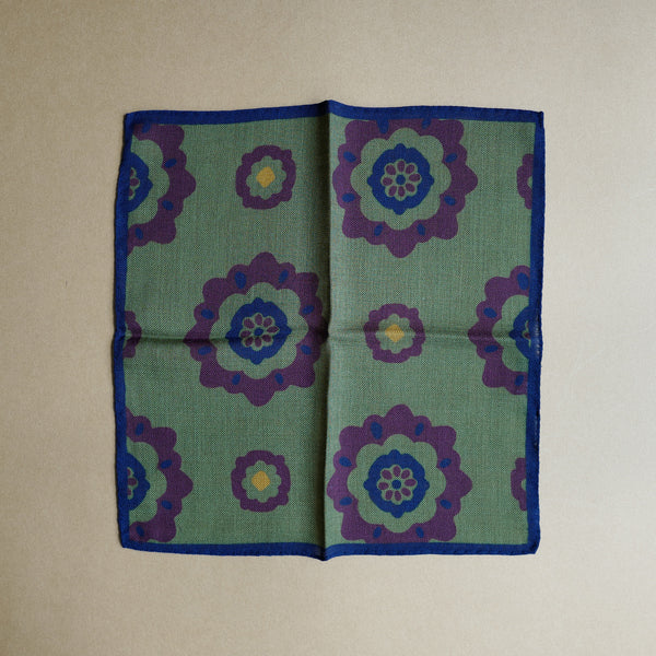 Green Pocket Square with Floral Design