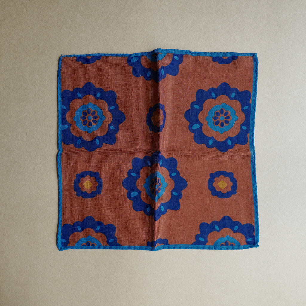 Dark Orange Pocket Square with Floral Design