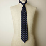 Navy Seven-Fold Printed Silk Tie with Blue Diamond Motif