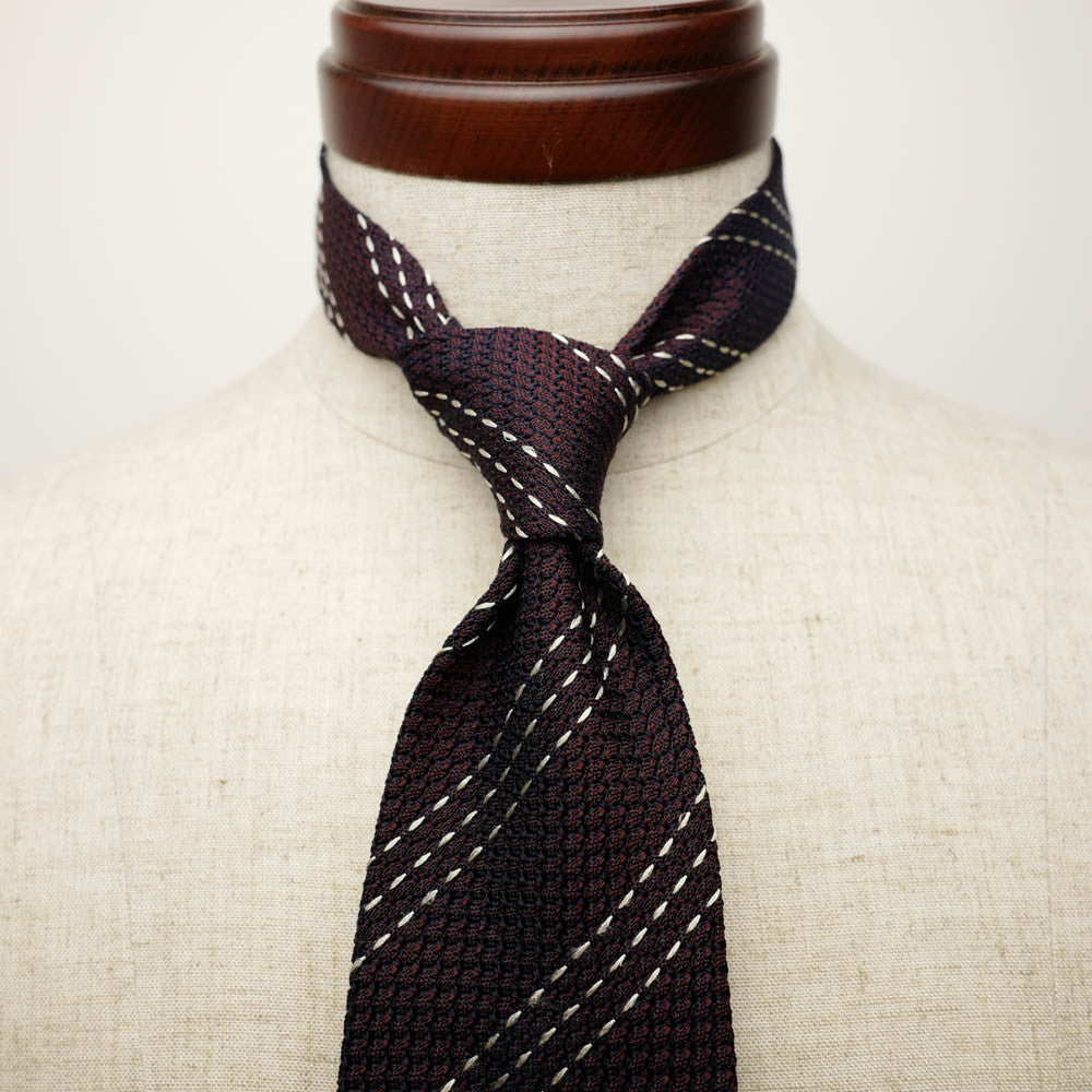 Burgundy Grenadine Seven-Fold Tie with Triple White Stripes