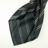 Grey Grenadine Seven-Fold Tie with Double White Stripes