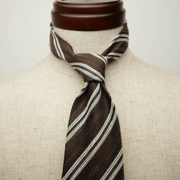 Brown Seven-Fold Woven Regimental Linen/Silk Tie