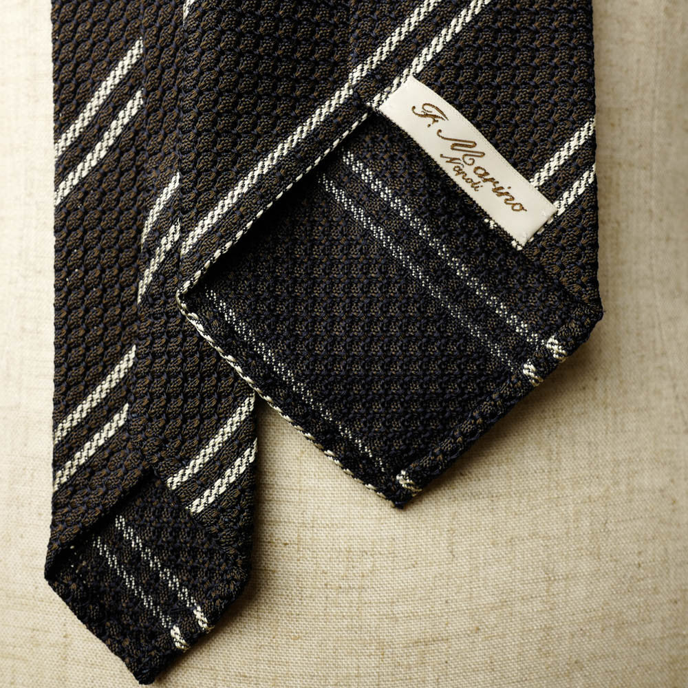 Brown Grenadine Seven-Fold Tie with Double White Stripes