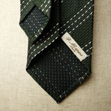 Dark Green Grenadine Seven-Fold Tie with Triple White Stripes