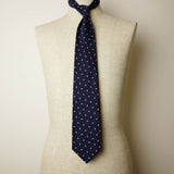 Navy Seven-Fold Repp Silk Tie with White Diamond Motif