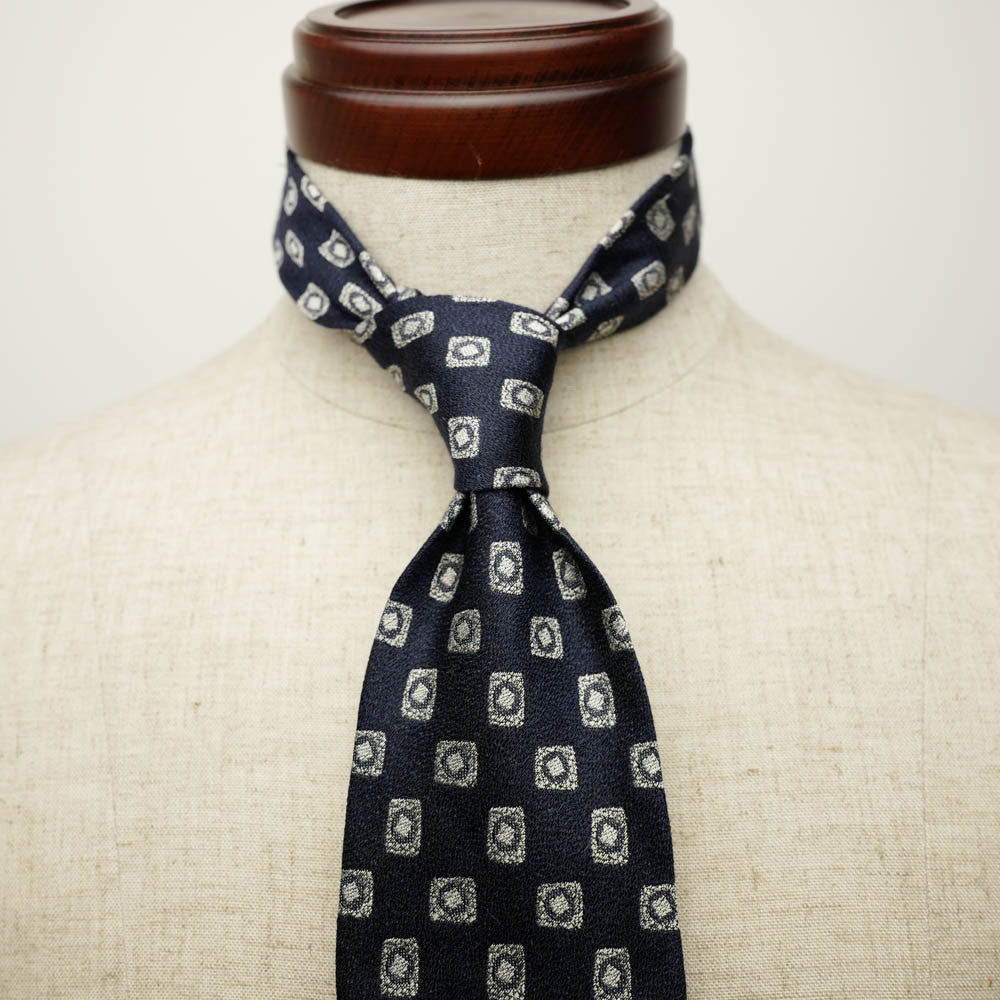 Navy Seven-Fold Woven Linen/Silk Tie with Diamond Motif