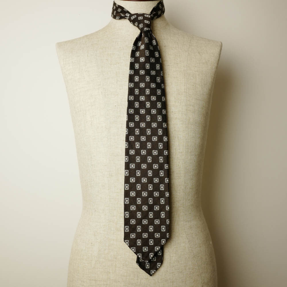 Brown Seven-Fold Woven Linen/Silk Tie with Diamond Motif