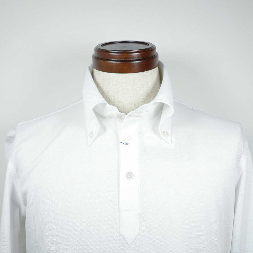 White Long-sleeve Polo Shirt with button-down collar