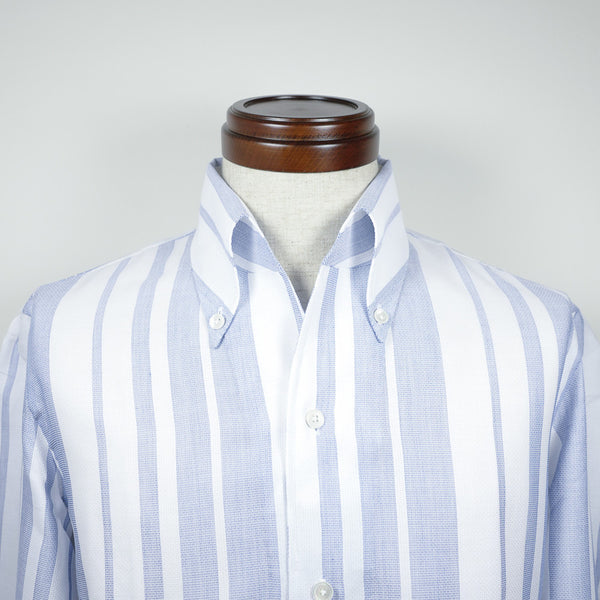 Blue Block Stripes Shirt with one piece collar