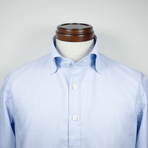 Light Blue Long-sleeve Polo Shirt with wide spread collar