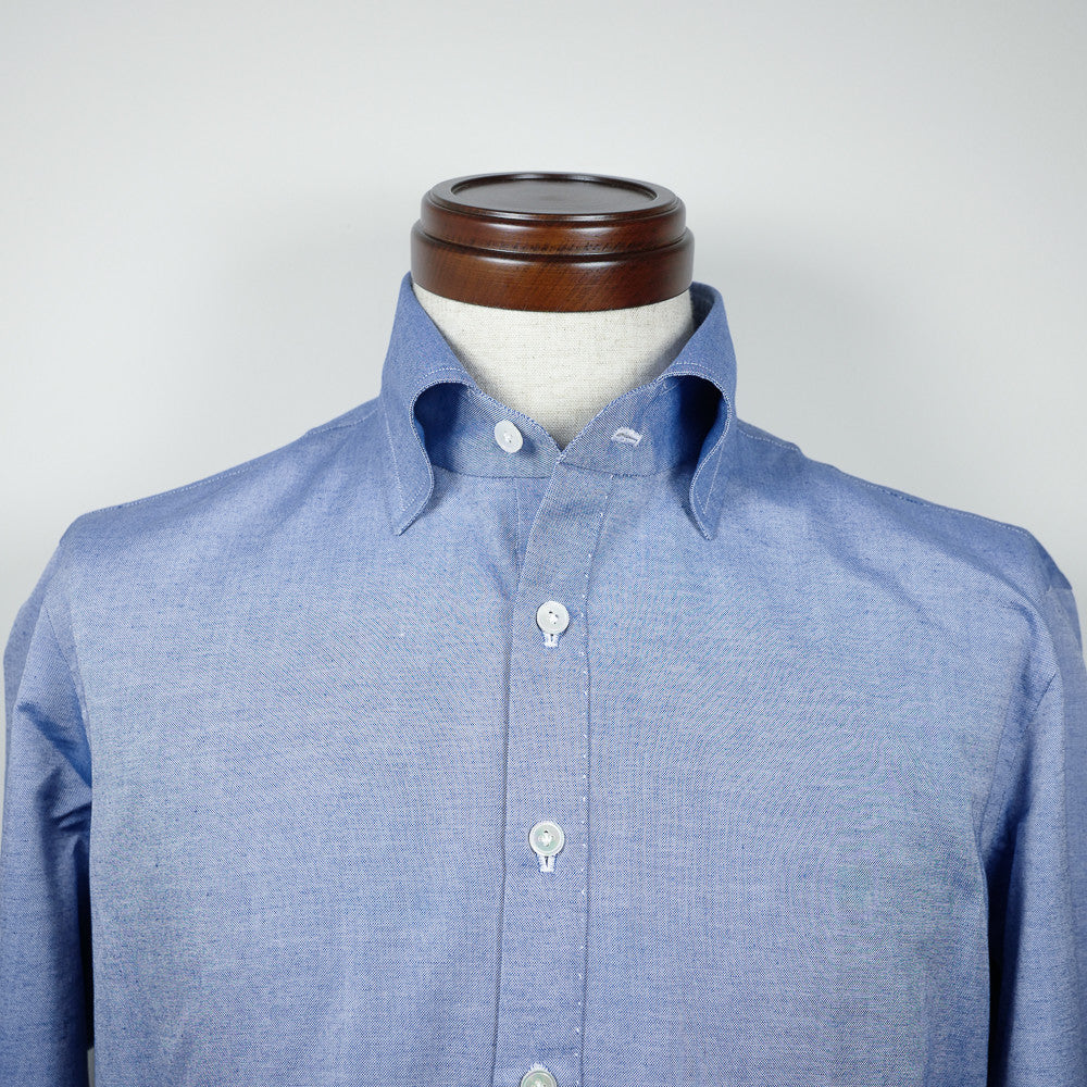 Blue Long-sleeve Polo Shirt with cut-away collar