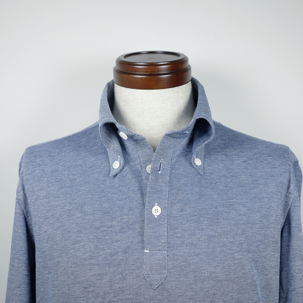 Blue Long-sleeve Polo Shirt with button-down collar