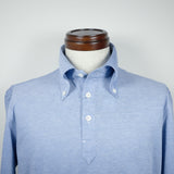 Light Blue Long-sleeve Polo Shirt with button-down collar
