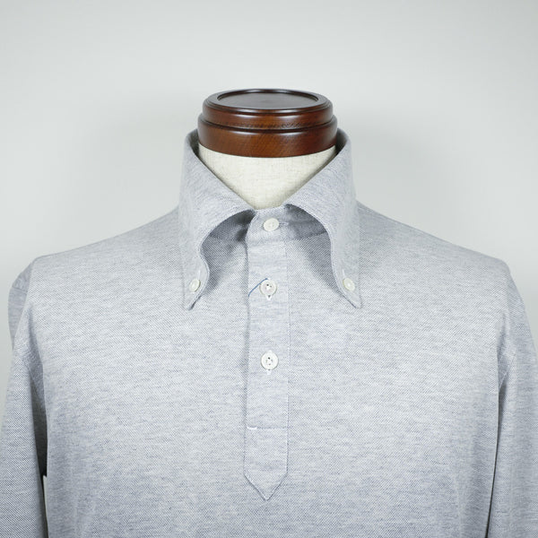 Grey Long-sleeve Polo Shirt with button-down collar