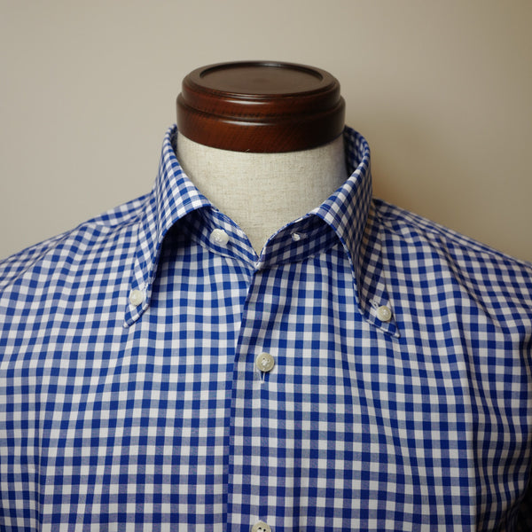 Blue Gingham Shirt with Spread Button-down collar