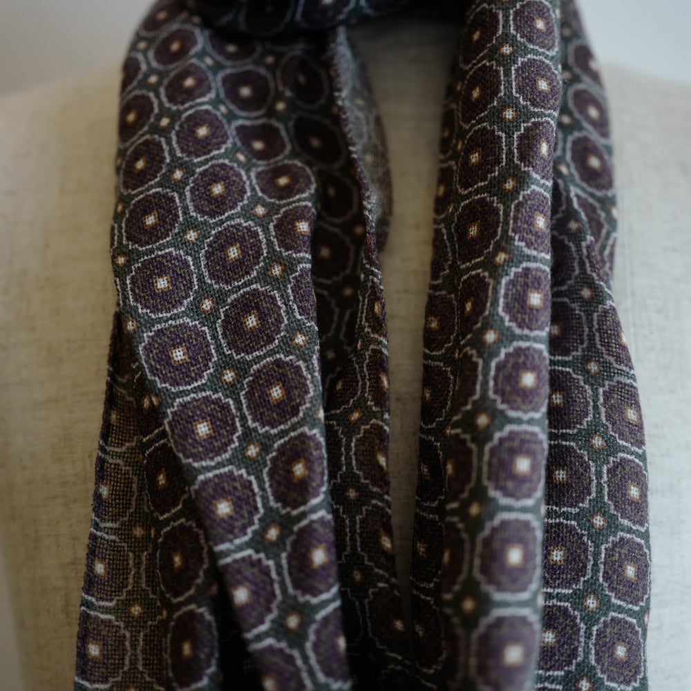 Green/Brown Wool Scarf with Medallion Print