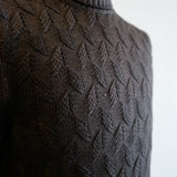Dark Brown Cable Knit Roll-neck Sweater