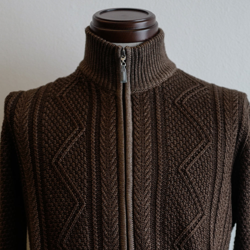 Brown Cable Knit Full-zip Sweater
