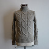 Greyish Beige Cable Knit Roll-neck Sweater