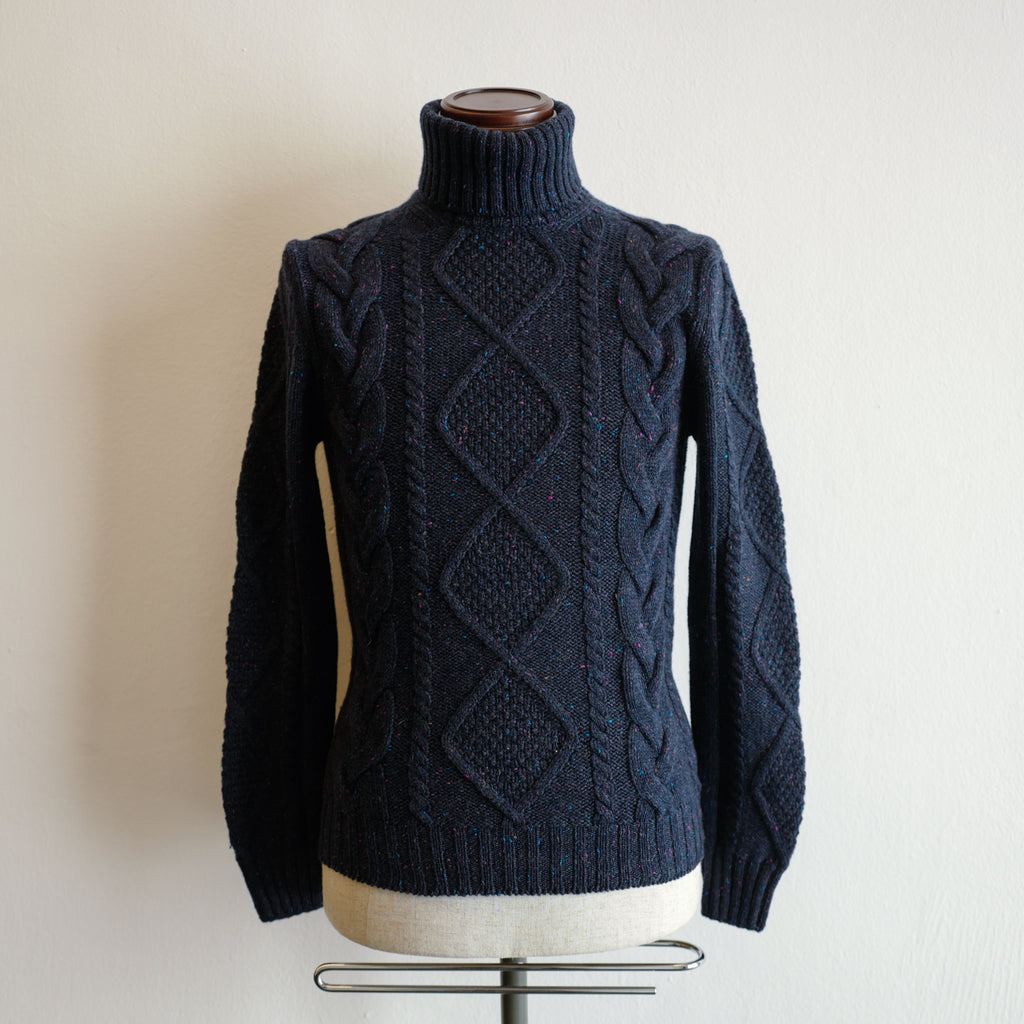 Navy Cable Knit Roll-neck Sweater
