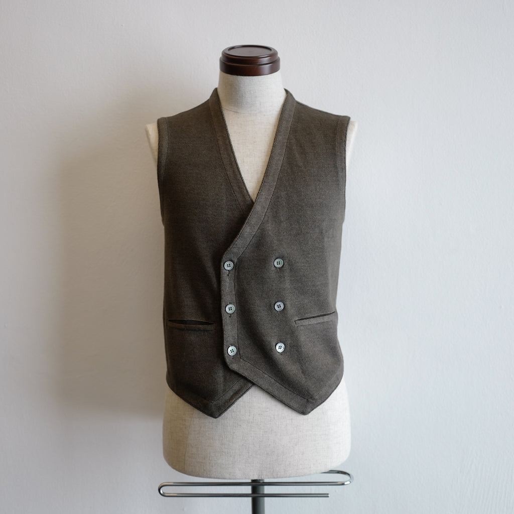 Greenish Brown Vintage Double-breasted Gilet