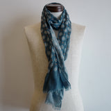 Blue/White Wool Scarf with Medallion Print