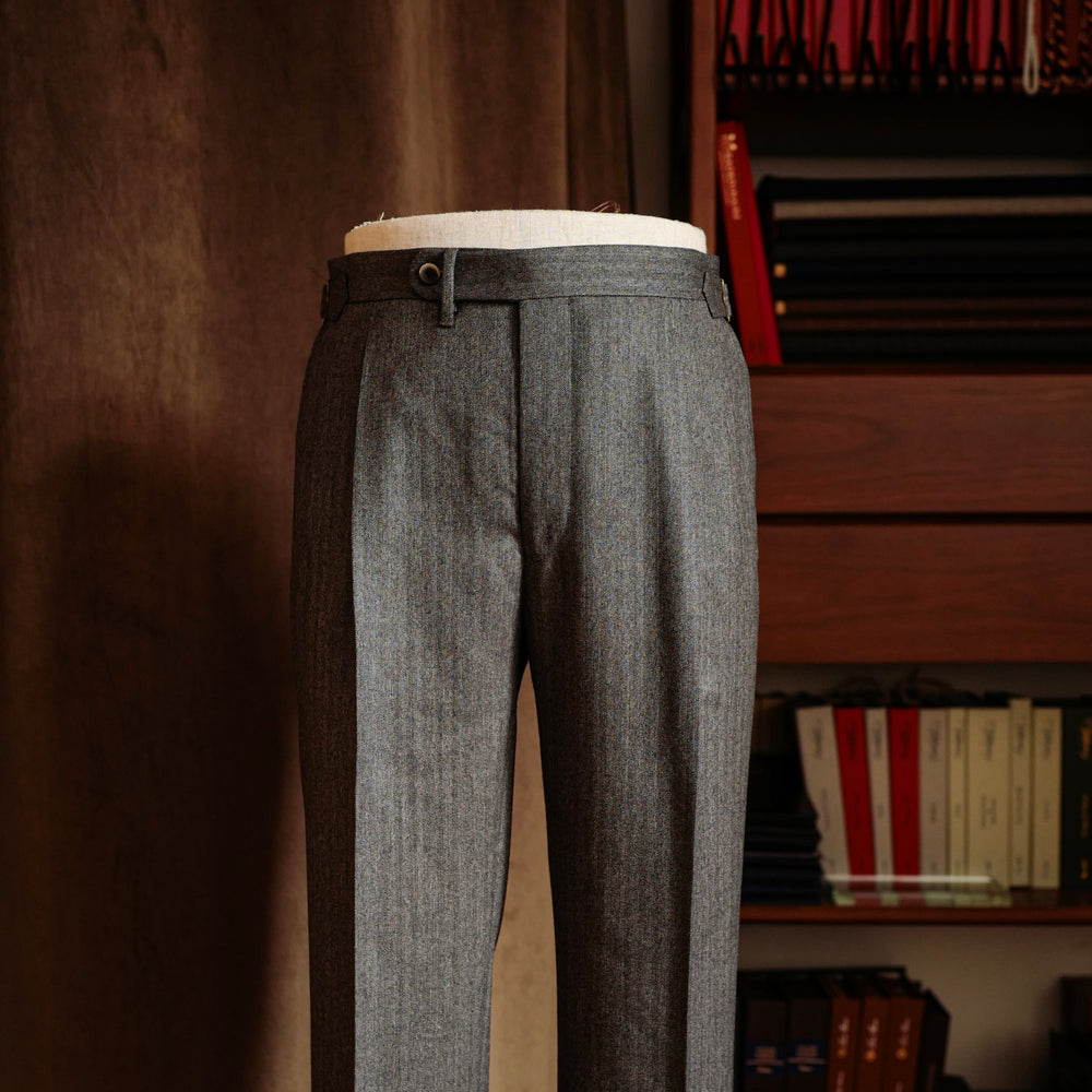 Grey Herringbone Wool Trousers Mod.2
