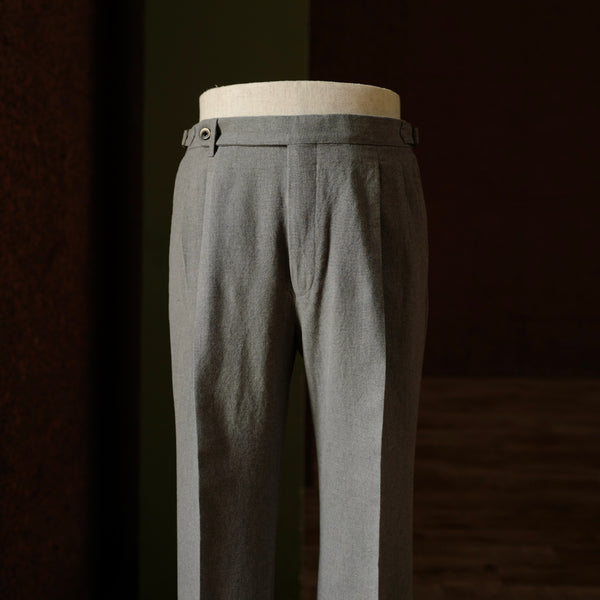 Grey Cotton Fresco Trousers