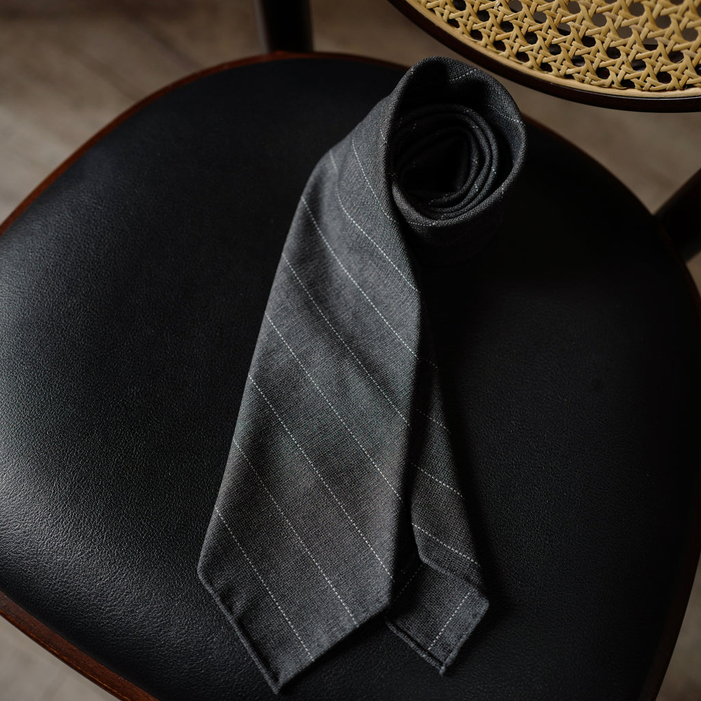 Grey Hopsack Wool Tie with wide stripes