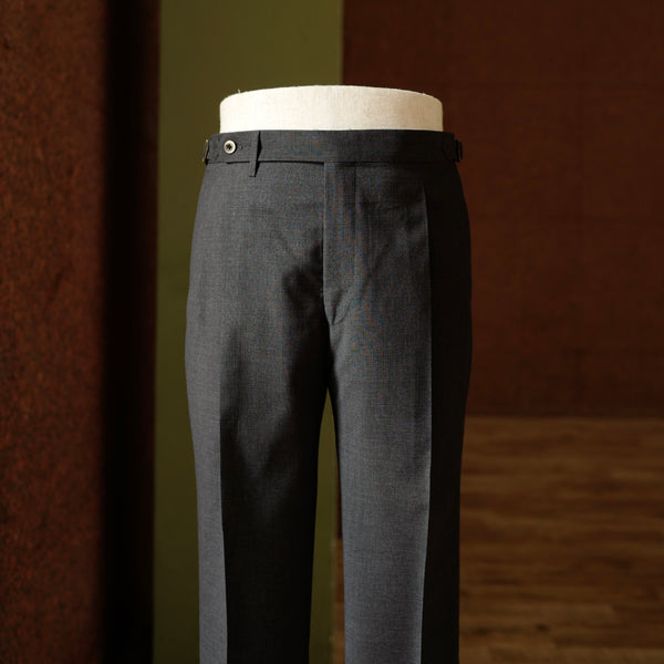 Grey textured Wool Trousers