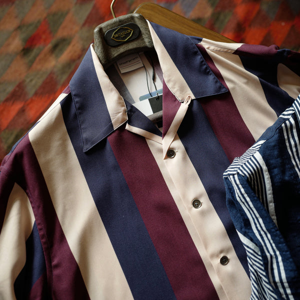 Wine Stripes Rayon Shirt