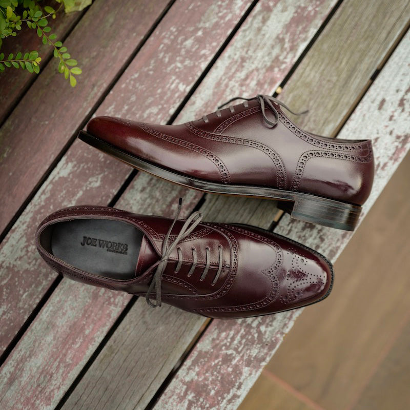 Imitation Full Brogue in Burgundy French Calf