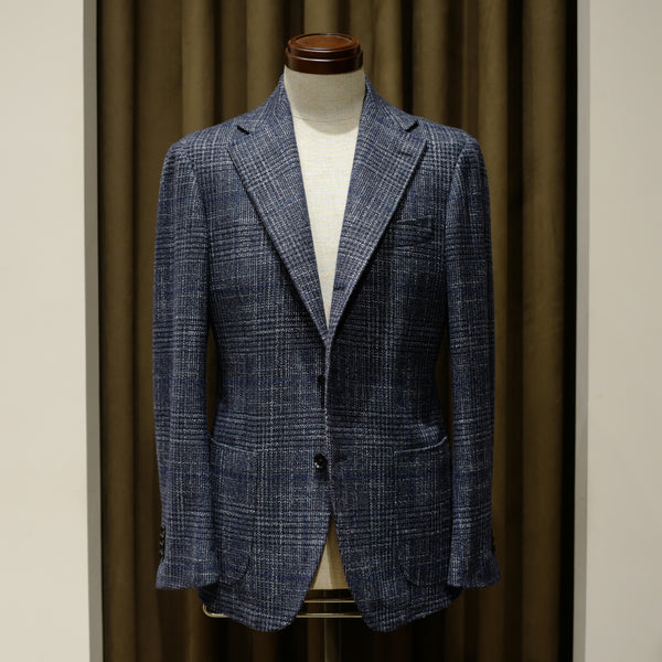 Blue Large Check Wool/Silk Jacket