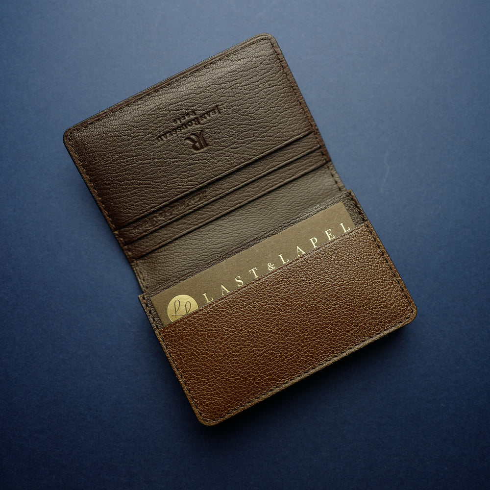 Brown Shrunken Calf Card Wallet