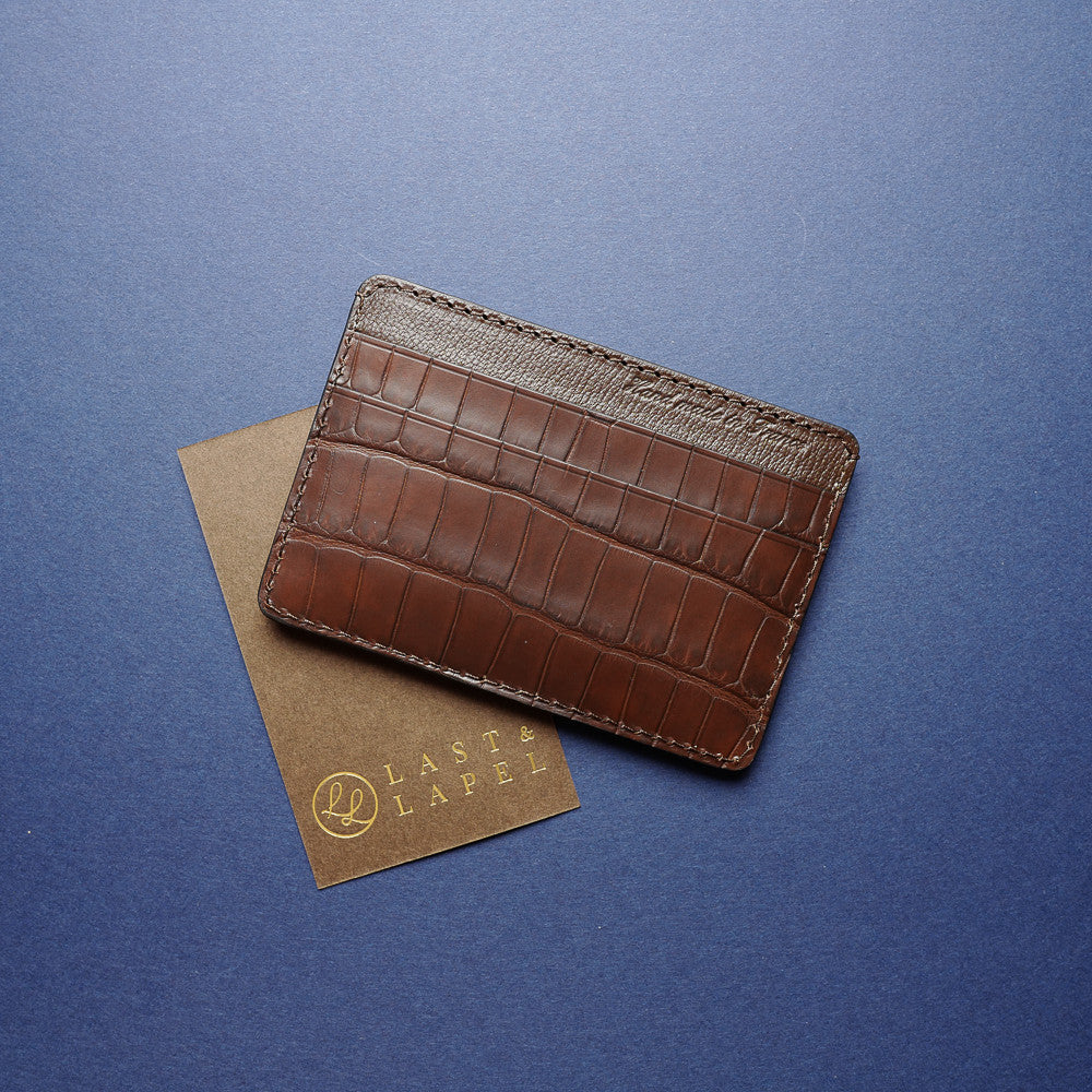 Dark Brown Alligator Card Holder