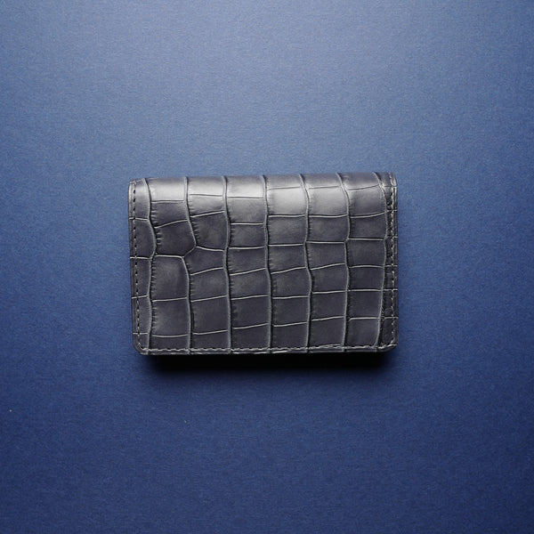 Slate Grey Alligator Card Wallet