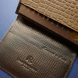 Taupe Alligator Card Wallet