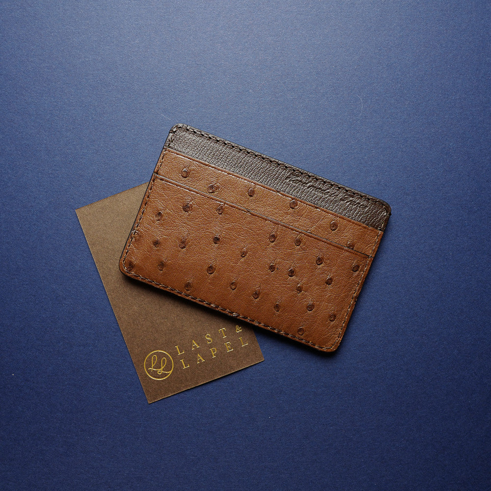 Brown Ostrich Card Holder